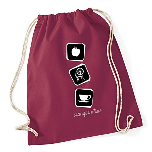 upon School Burgundy litres time Once 12 icons Bag HippoWarehouse Drawstring Gum Cotton a Kid 46cm 37cm x Sack 5a0fqwWnxT