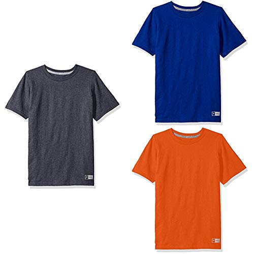 Russell Athletic Kids Shorts - Russell Athletic Big Boys' Essential Short Sleeve Tee, Black Heather/Royal/Burnt Orange, M