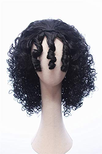Cosplaywigscom: Mother Gothel Wig Inspired of Movie Tangled Medium Black Curly Kinky Hair for Adults and Teens