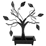 12-Inch Earring Holder Stand with Ring Dish Tray, Black Metal Necklace Tree Design Jewelry Hangers