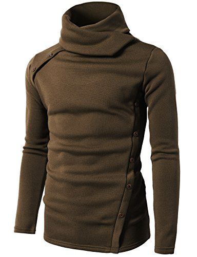 H2H Men's Fine Gauge Solid 1/4 Zip Sweater Brown US M/Asia L
