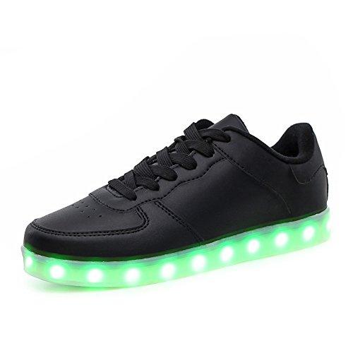 KaLeido Warm velvet lining USB Charging 7 Colors LED Shoes Flashing Fashion Sneakers Light Up Sport Shoes (11 B(M) US Women/8.5 D(M) US Men, Black)