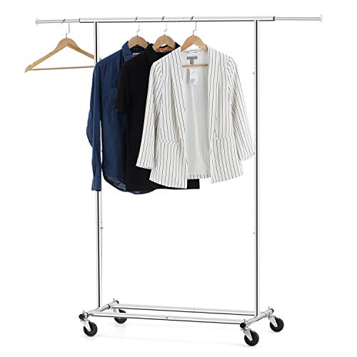 (Bextsware Clothes Garment Rack, Extendable Collapsible Clothing Storage Shelf Rolling Rack on Wheels with Adjustable Clothes Rack Hanging Rail, Commercial Grade Rack Holds up to 150 lbs, Chrome)
