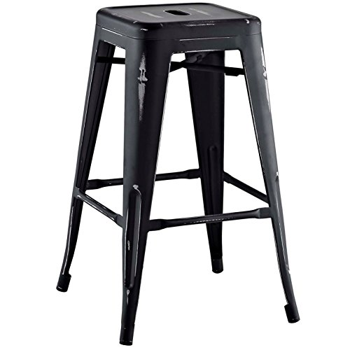 Modern Urban Industrial Distressed Antique Vintage Counter Stool Chair ( Set of 2), Black, Metal by America Luxury - Stools (Image #2)