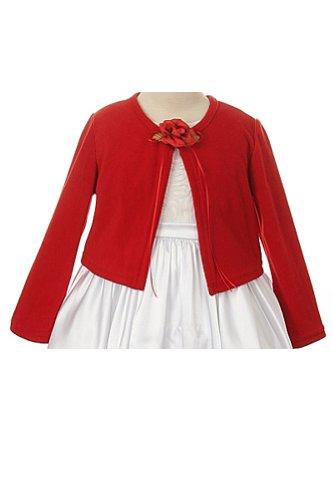 Basic Knit Girl's Cardigan Jacket Sweater Black Fuchsia Ivory Red White 2-12