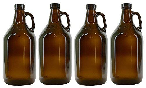 True Fabrications 1/2 Gallon Amber Beer Growler with poly seal caps, Reusable, Has Uv Protection (Pack of - Growlers Beer