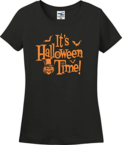 Disney Park Visit It's Halloween Time! Ladies T-Shirt (S-3X) (Ladies Medium, Black) -