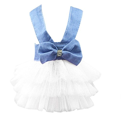 Funic Bubble Skirt Cowboy Denim Skirt Dress Pet Dog Cat Dress Princess Dress Dresses for Dog White -