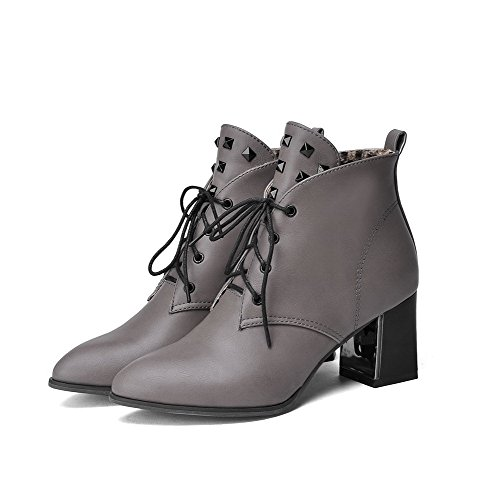 AgooLar Women's Pointed-Toe Kitten-Heels PU Solid Lace up Boots Gray SqDo7Ge