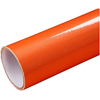 Temall Solid Color Gloss Contact Paper Self Adhesive Peel And Stick Wallpaper For Counter Top 24x79Orange