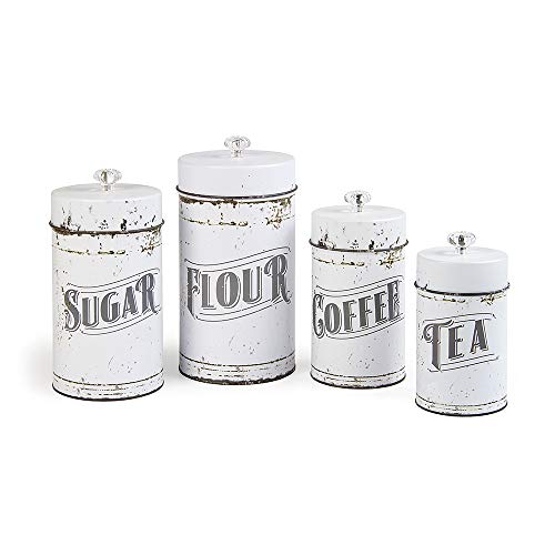 French Country Vintage Style White 4 Piece Canister ()
