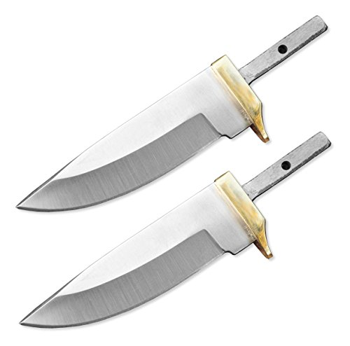 (Whole Earth Supply (Set of 2) Custom Blank Blade Drop Point Knife Knives Guard w/Brass Guard Bolster BL7829)