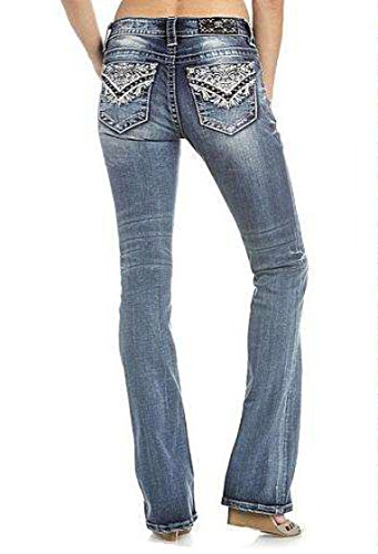 Miss Me Women's Intricate Embroidered Boot Cut Jeans Indigo 27 by Miss Me