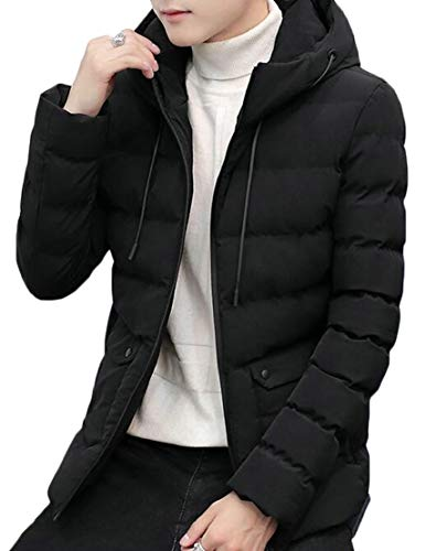 Jacket TTYLLMAO Solid Puffer Lightweight Slim Hooded Down Men Black P7zqO