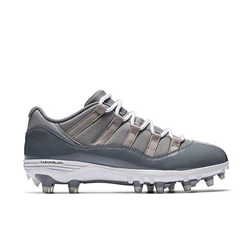 NIKE Mens Air Jordan XI 11 Retro Low TD Football Cleats Medium Grey/White/Cool Grey AO1560-003 Size 10.5