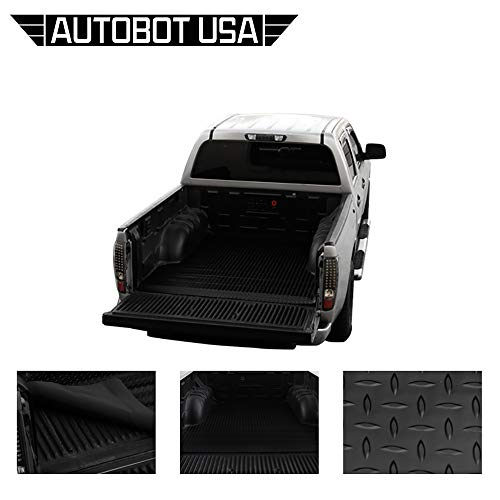 (Autobotusa Black Finished Rubber Diamond Plate Floor Mat Carpet 2004-2014 for Ford F150 Styleside 8 Ft Long Truck Bed )