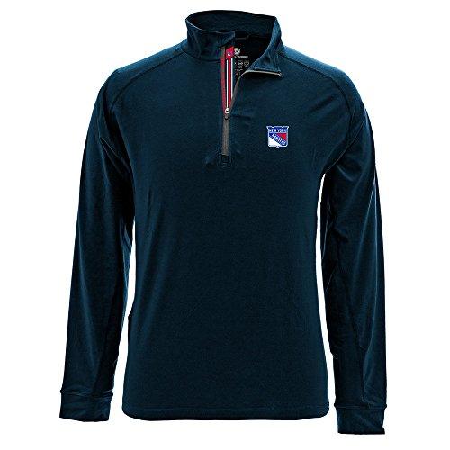 Levelwear LEY9R NHL New York Rangers Men's Peak Banner Stripe Quarter Zip Mid-Layer Jacket, Large, Navy ()