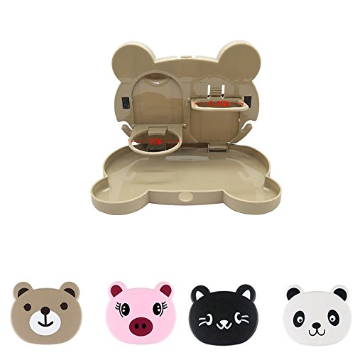 Autumn Water Tray Box+Cup Holder Foldable Car Seat Back Drink Holder ABS Bottle Cup Holders Folding Dining Table for Travel by Autumn Water