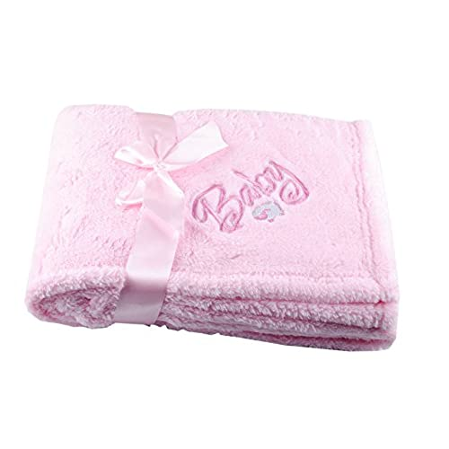 Personalized blanket amazon gp custom embroidery polyester monogrammed blanket personalized embroidered baby blanket cuddle wrap newborn name fleece gift light pink negle Images