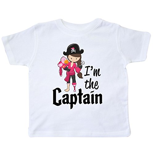 - inktastic - I'm The Captain- Pirate Girl Toddler T-Shirt 4T White 2c4c6