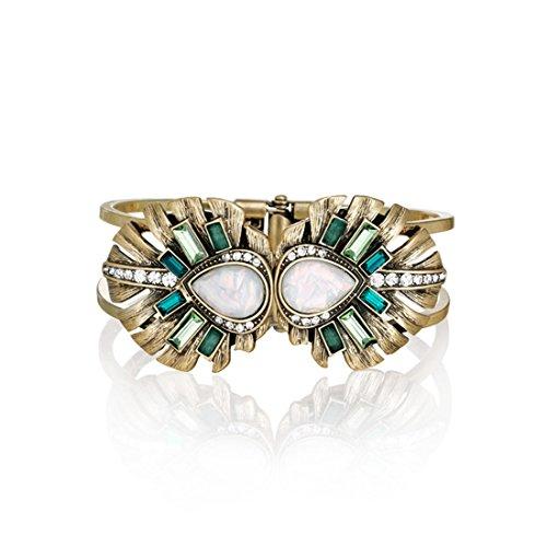 Lares Domi Vintage Gold-tone Crystal Incrusted Simulated Emerald - Opal Inlay Elegant Palm Leaf Bracelet