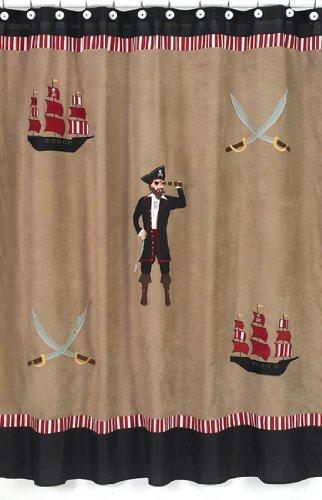 Treasure Cove Pirate Kids Bathroom Fabric Bath Shower Curtain by Sweet Jojo Designs