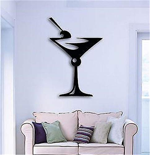 Cheap  Lettering Words Wall Mural DIY Removable Sticker Decoration Drink Glass of Martini..