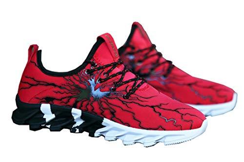 の前で今汚いHeaven Days(ヘブンデイズ) ランニングシューズ スニーカー スポーツシューズ ジョギングシューズ トレーニングシューズ ジム ウォーキング ランニング 紐靴 サンダーデザイン メンズ 1809N0180