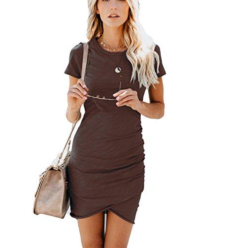 EFAN Women's Summer Causal Solid Ruched Short Sleeve T-Shirt Mini Dress Bodycon Pencil Dress (Dark Brown, XS)