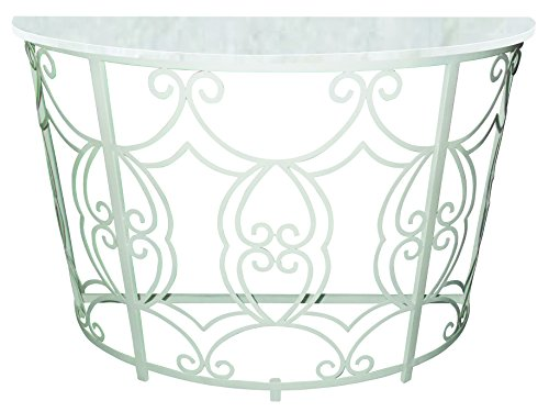 Antique White Iron Scroll Design Demilune Console Table with White Marble - Tables Antique Marble