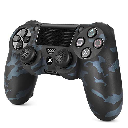 TNP PS4 / Slim/Pro Controller Skin Grip Cover Case Set - Protective Soft Silicone Gel Rubber Shell & Anti-Slip Thumb Stick Caps for Sony Playstation 4 Controller Gaming Gamepad (Camo Black)