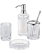 Gala Houseware Bathroom Accessories Set 4 Pcs - Lead Free Ultra-Clarity Glass Soap Dispenser & Toothbrush Holder & Tumbler & soap Dish - Vertical Stripes Pattern Ideal for Bathroom and Kitchen Decor.