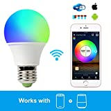 Smart Light Bulb Work with Alexa, RGB 45W WiFi Bulb Assistant Compatible with Amazon Echo and Google Home. Multicolor, Dimmable, No Hub Required, CE/FCC/UL Listed (1-Pack-4.5W)