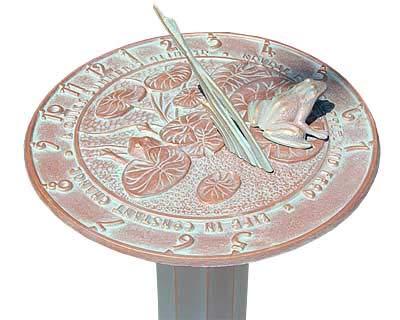 BestNest Whitehall Frog Sundial & Roman Pedestal Package, Copper Verdi
