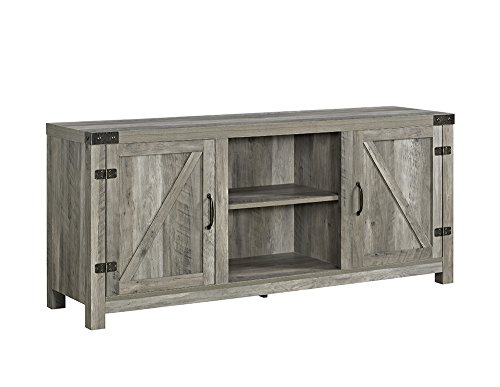 WE Furniture W58BDSDGW Barn Door TV Stand 58