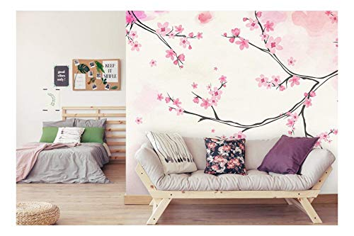 Large Wall Mural Pink Blooming Cherry Flowers on The Branch with Abstract Background Vinyl Wallpaper Removable Wall Decor