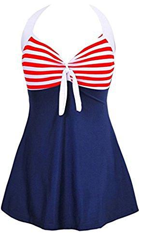 MiYang Vintage Sailor Pin Up Swimsuit One Piece Skirtini Cover Up Swimdress 3XL NavyBlue