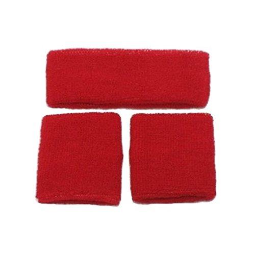 Just 4 Fun Leisurewear Sweatband Headband & 2 Wristbands One size (Red) Just For Fun