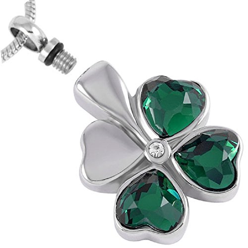 (Gem Petite Clover Leaf Remembrance Jewelry By Casket Etcetera Urn Necklace Keeps Your Love Ones Ashes Safe)