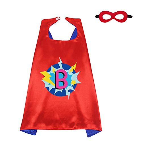 Red Superhero-Cape and Mask for Kids Costume with Name 26 Letter Initial (Cape-B)]()