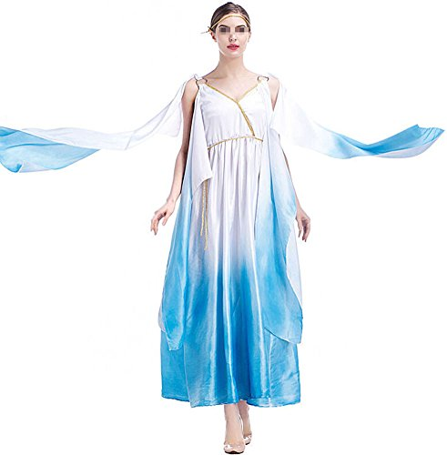 Halloween Sexy Egyptian Greecian Goddess Women Adult Cosplay Costume Gown (Egyption Costumes)