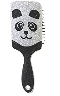 Glitter Magical Cute Animal Design Wet or Dry Paddle Hairbrush Massaging Styling Brush (Black -White)