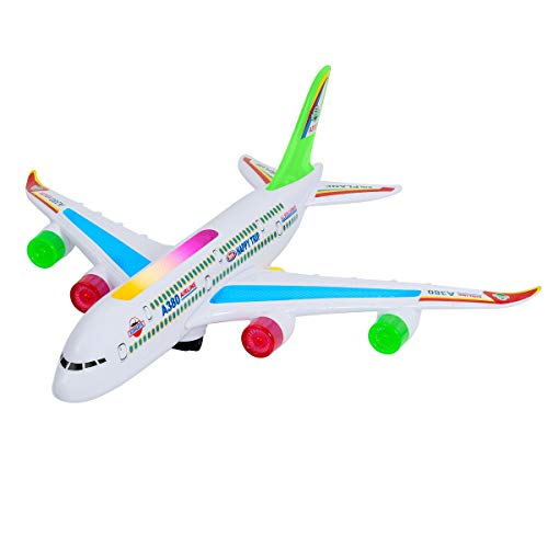 Toy Airplane for Kids - Bump and Go Electric Air BOU A380 Kids Action Airplane with Attractive Flashing Lights and Aircraft Jet Engine Sounds -Changes Direction On Contact, Great Gift ()