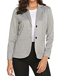 Womens Notched Lapel Pocket Button Work Office Blazer Jacket Suit Gray 2 Button Stretch Crepe