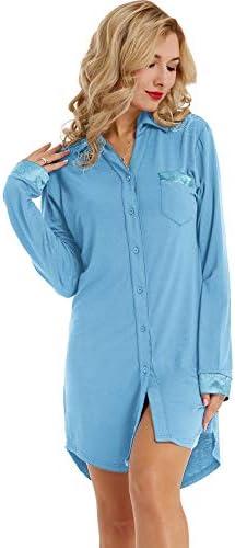 Zexxxy Women Long Sleeve Pajama Top Button Down Lapel Sleep Shirt Dress