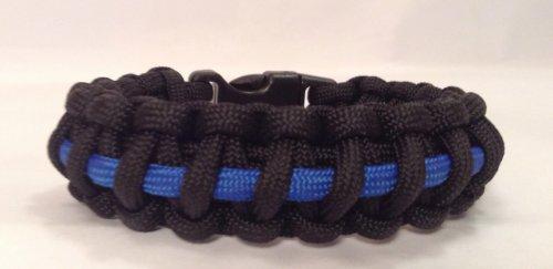 Police Blue Line Paracord Tactical Survival Bracelet - 6 Inch Fit Size