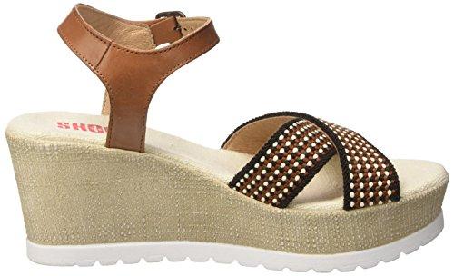 Beige Sandale 160181b Sh Keil Sandali Leder Schuhe Shoot Plateau Donna beige Damen Sommer lona Shoes Wy7qcc1CES