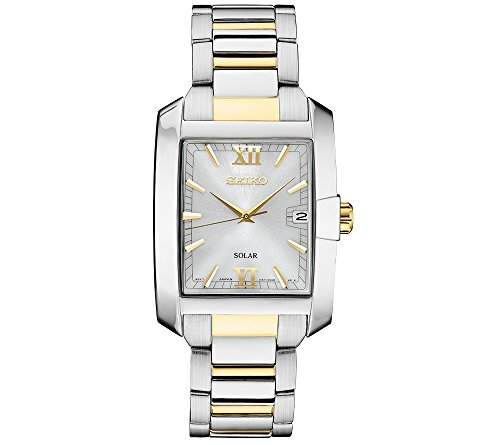 Seiko-Mens-Solar-Rectangular-Two-Tone-Watch