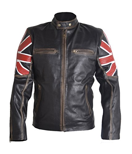 MSHC Tough Look Union Jack Cowhide Leather Jacket (XL) Brown Rough