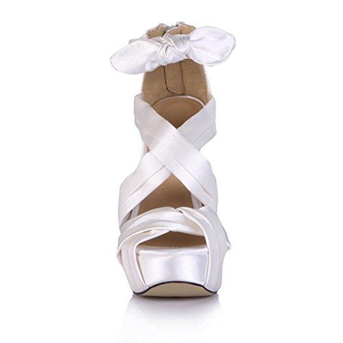 zapatos 14 tacón de 4U de 3 mujer blanco boda Best correas cm cruzando cm KUKIE Sandalias bombas de sintética Peep suela Plataformas Pies seda alto goma de 8f5qwZwXn